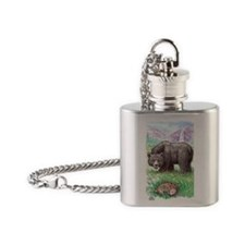 Black Bear with fawn in meadow with Flask Necklace