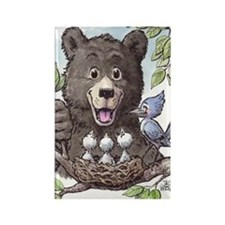 Black Bear with baby birds in nes Rectangle Magnet