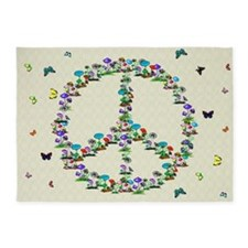 Butterflies and Mushrooms Of Peace 5'x7'Area Rug