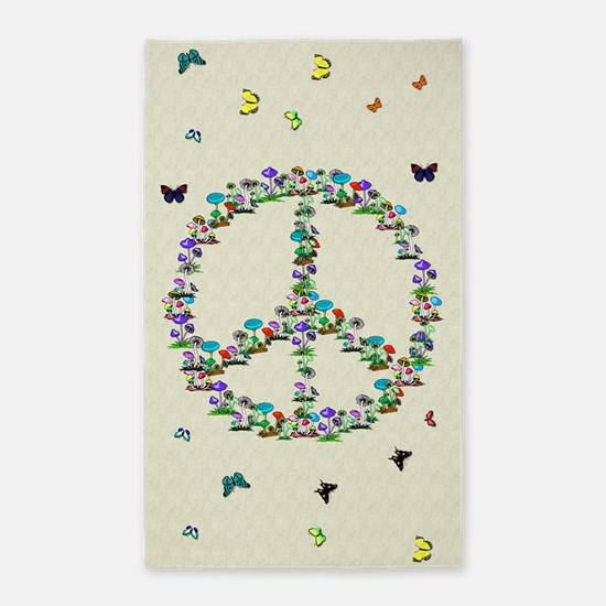 Butterflies and Mushrooms Of Peace 3'x5' Area Rug