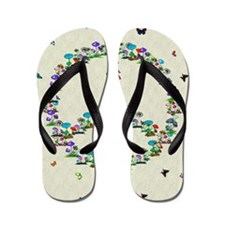 Butterflies and Mushrooms Of Peace Flip Flops
