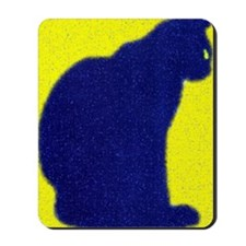 Blue Kitty Yellow Background Digital Art Mousepad
