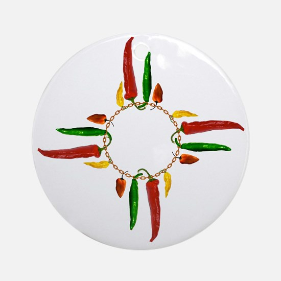 Chile pepper zia symbol Round Ornament