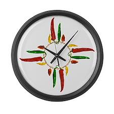 Chile pepper zia symbol Large Wall Clock