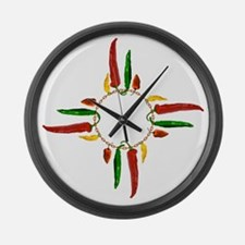 Chile pepper zia symbol Large Wall Clock