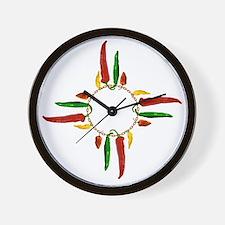 Chile pepper zia symbol Wall Clock