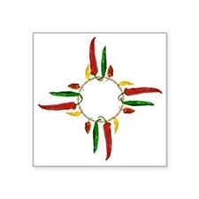"Chile pepper zia symbol Square Sticker 3"" x 3"""