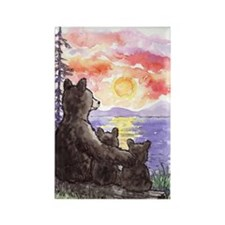 Black Bear with Cubs and sunset,  Rectangle Magnet