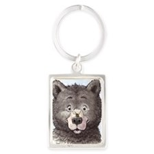 Black bear with bee  Portrait Keychain