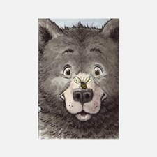 Black bear with bee  Rectangle Magnet