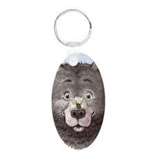 Black bear with bee  Aluminum Oval Keychain