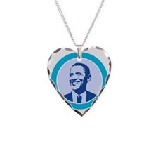btn-obama-face Necklace Heart Charm