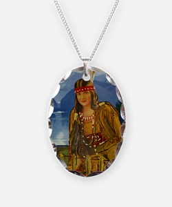 INDIAN MAIDEN Necklace Oval Charm