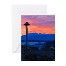 Sunset Over Seattle Greeting Cards (Pk of 20)