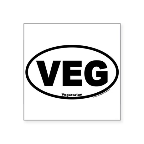 Vegetarian Euro Style Oval Car VEG Sticker