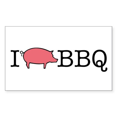 I Cook BBQ Rectangle Sticker