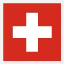 "Switzerland Square Car Magnet 3"" x 3"""