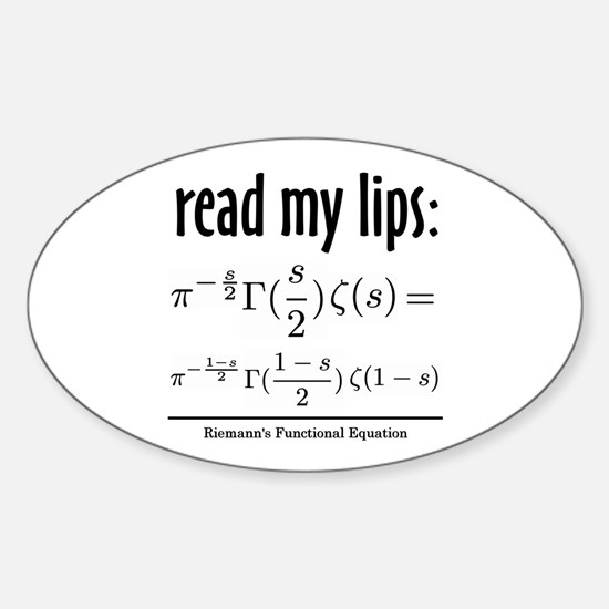 Riemann Functional Equation Oval Decal