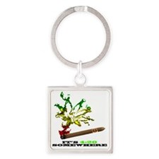 rasta with black letters copy Square Keychain
