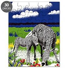 FIN-zebra-mother-watercolor Puzzle