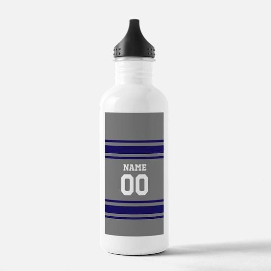 Sports Jersey Gray BLue Water Bottle