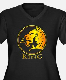Lion (King) Women's Plus Size Dark V-Neck T-Shirt
