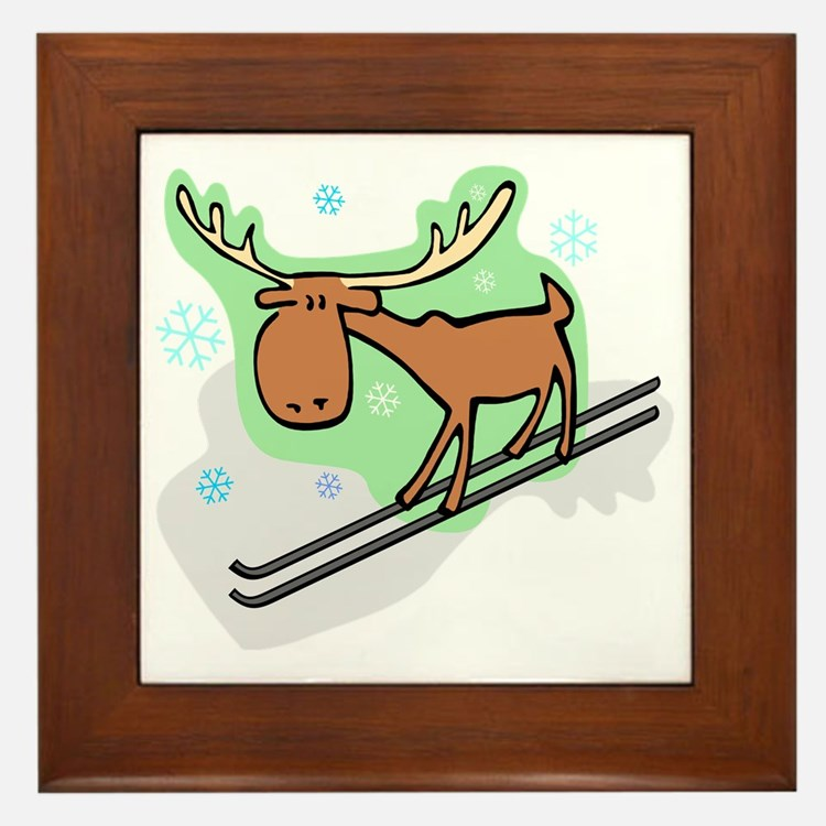 Moose Skiing tee Framed Tile
