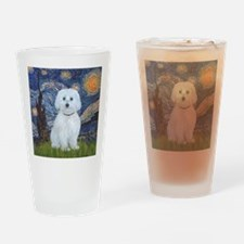 Starry Night - Maltese (B) - square Drinking Glass
