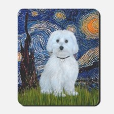 Starry Night - Maltese (B) - square Mousepad