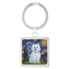 Starry Night - Maltese (B) - squar Square Keychain