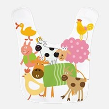 Farm Animals On White Bib