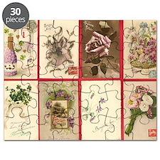 50 CPA 15.11 X8 Fantaisie Group 1 fleurs AK Puzzle