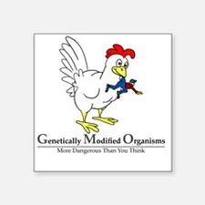 """GMO Chicken Square Sticker 3"""" x 3"""""""