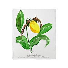 yellow ladyslipper flower Throw Blanket