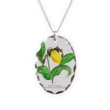 yellow ladyslipper flower Necklace