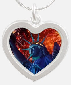 Lady_Liberty_Poster Silver Heart Necklace