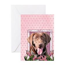 PinkTulips_Choc_Lab_Journal5x8 Greeting Card