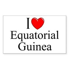"""I Love Equitorial Guinea"" Rectangle Decal"