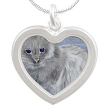 gray cat3 Silver Heart Necklace