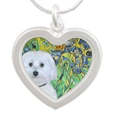 Irises - Maltese (B) Silver Heart Necklace
