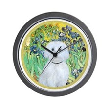 Irises - Maltese (B) - round Wall Clock