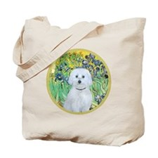 Irises - Maltese (B) - round Tote Bag