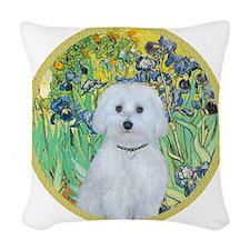 Irises - Maltese (B) - round Woven Throw Pillow