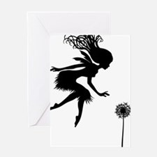Floating Fairy By Dandelion Greeting Card
