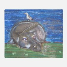 Hippo resting Throw Blanket