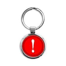 btn-typo-exclamation Round Keychain