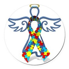 Autism Angel 10x10 Round Car Magnet