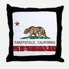 california flag bakersfield distressed Throw Pillo