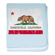 california flag bakersfield distressed baby blanke