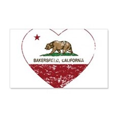 california flag bakersfield heart distressed Wall